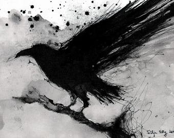 Crow painting - Ink on 8x12in canvas, A4, 21x30cm - abstract flying crow - sumi 2