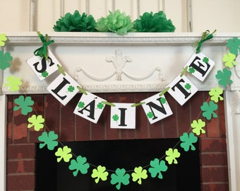 St Patricks Day Decor / SLAINTE Banner / St Patricks Day Banner /St Pattys Decorations / St Patricks Day Garland