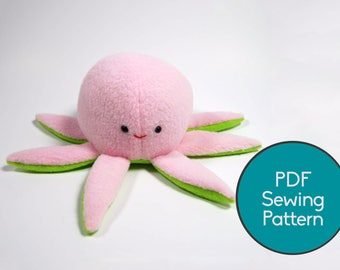 Octopus Plush Pattern, PDF Sewing Pattern, Plush Pattern