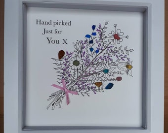 Sea glass art framed picture - hand picked just for you - flower picture - seaham sea glass picture