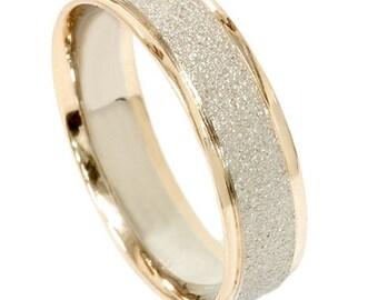 Mens 2 Tone 14k White & Yellow Gold Textured Wedding Ring Band Size (7-12)