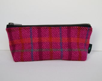 Harris Tweed make-up bag in bright purple check with water-resistant lining