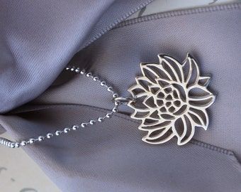 Blooming Lotus Necklace Sterling Silver