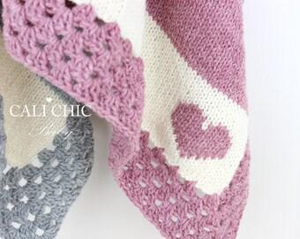 Knitting PATTERN 27 - Cali Kids -  Heart Motif Knit Baby Blanket PATTERN 27 - Instant Download PDF Pattern