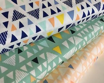 Geometric Decor Fabric, Triangle fabric, Art Gallery fabric, Fat Quarter Bundle, Triangle Bundle of 3, Choose the Cut