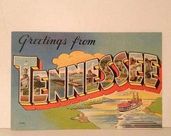 ON SALE Greetings From Tennessee Old Vintage 1940's 1950's Souvenir Linen Postcard