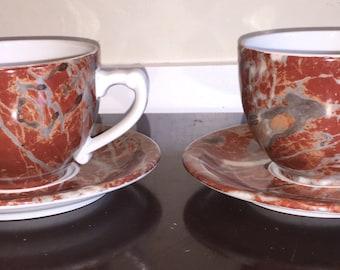 French Soup Bowl Set Ulysse Parisian Soup Mugs w Saucers Porcelaines Ulysse Paris Made in France