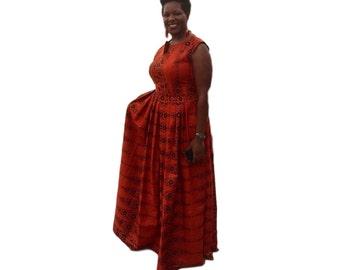 Kuwaha African Print Long Maxi Gown Dress; Orange, Black