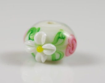 Set of 6 White Rondelle Beads White Daisy Pink Flowers Lampwork Glass