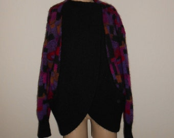 Tony Lambert Knit Cardigan L Black Multi Color Geometric Mod Vintage 1 Button