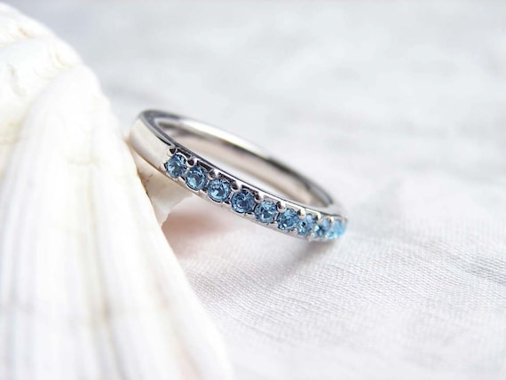 tw ring ct bands top round aquamarine eternity aqua gold white diamond band odessa in