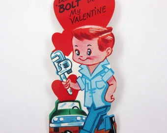 Vintage Children's Novelty Valentine Greeting Card with Cute Red Haired Boy Mechanic Holding a Wrench with Green Car