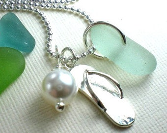 Sea Glass Jewelry  Beach Glass Necklace Flip Flop Sea Glass Jewelry Seaglass Necklace Garden Leaf Seaside