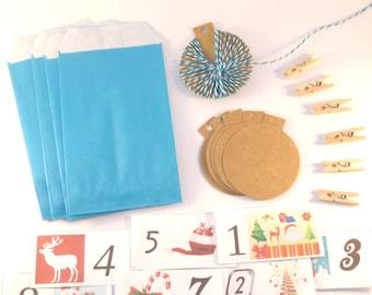 DIY Kit Calendrier de l'Avent Noël Bleu Turquoise