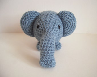 Crocheted Stuffed Amigurumi Elephant