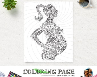 Coloring Page Mom To Be Printable Art Instant Download Print Zen Adult Book Anti Stress Therapy DIY
