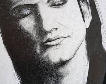 Portrait of Brian Molko, crayons, pencils 29.5x21cm