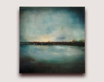 Landscape Semi-Abstract oil Painting, abstract landscape painting, landscape art, ready to hang painting, landscape wall art abstract lake