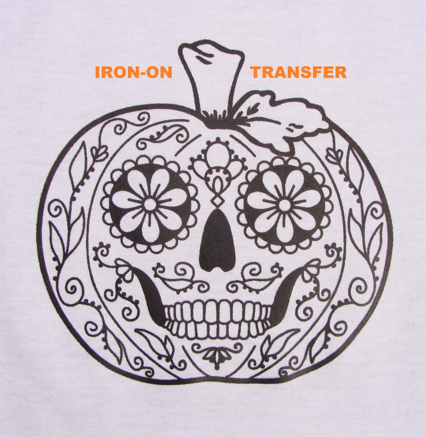 Pumpkin Sugar Skull TRANSFER Iron On Heat Press DIY for T shirts ...