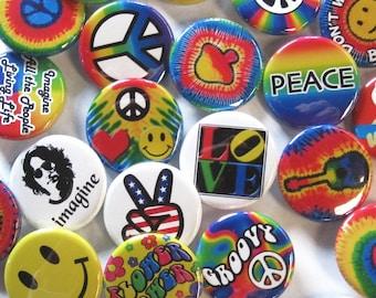 24 groovy Button Pack - coloré Hippie paix coeur heureux Pins 24 Pin Pack de 1,25 pouce qualité Pin-dos-Badges