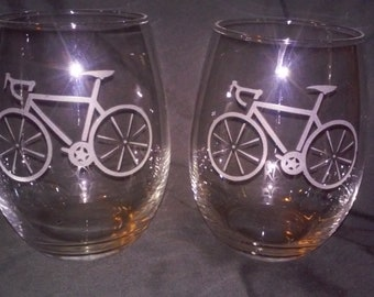 Bicycle Wine Glasses,Cycling glasses,Etched wine glasses,birthday gifts,stemless wine glass,personalized gift,biking glass