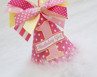 Hot Pink Dot, Light Pink, and Yellow Party Hat - You are my sunshine, Lemonade Stand Birthday Party