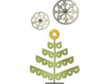 NEW LOW PRICE: Sizzix Thinlits Die Set 3Pk - Christmas Tree & Snowflakes  660726