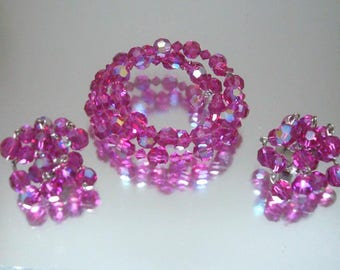 Purple Pink Crystal Memory Bracelet and Matching Dangle Earrings