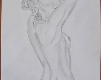 "nude pencil drawing female erotic ""ornament"" fine art"
