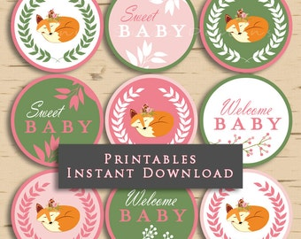 Baby Girl Woodland Cupcake Topper Sleeping Fox Baby Shower Cupcake Toppers Party Printables DIY Printable INSTANT DOWNLOAD