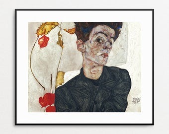 Egon Schiele Self Portrait with Physalis, 1912 - Egon Schiele Painting - Egon Schiele Print - Egon Schiele Art - Free Shipping USA