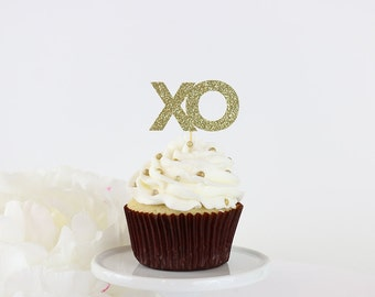 XO Cupcake Toppers (Set of 12) | Wedding | Valentine's Day | Bachelorette | Bridal Shower | Anniversary | Glittery Cupcake and Cake Toppers
