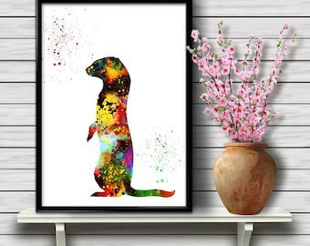 Ferret Watercolor, Animal, Wildlife, Nature, Watercolor Poster, Colorful Wall Decor, gift print (210)