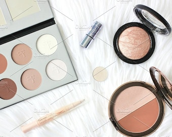 Styled Stock Photo | Highlight & Bronzer Flatlay | Blog stock photo, stock image, stock photography, blog photography