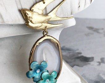 bohemian agate necklace swallow bird necklace long necklace gemstone jewelry vintage rhinestone flower nature woodland SWALLOW'S GARDEN