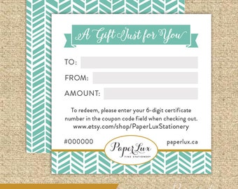 Gift Certificate - Fifty Dollars - Holiday Gift - Wedding - Newlywed - Housewarming