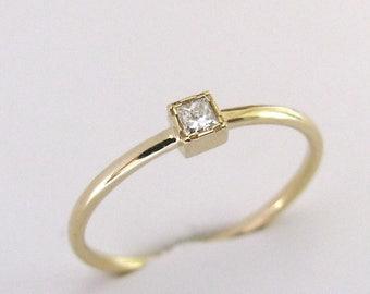Princess Diamond Ring, Engagement Ring, 14k Diamond Solid Gold Ring, Princess Engagement, Square Diamond, Wedding Ring, Princess Cut Ring
