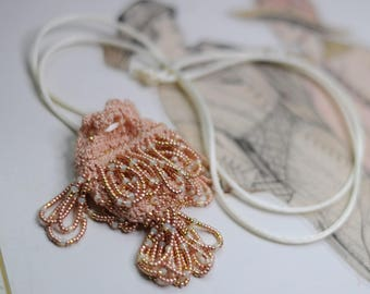 Amulet Bag Necklace Bead Crocheted - Vintage-Inspired-Downton Abbey