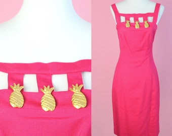 Vintage 90s Pineapple Dress // Hot Pink, Magenta, Gold Pineapples, 1990s, Women Size Small