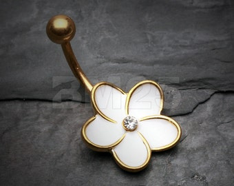Golden Plumeria Belly Button Ring