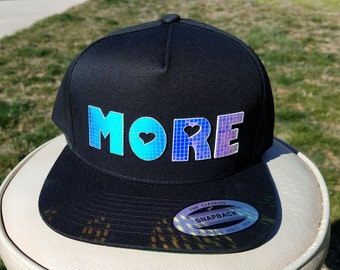 More Flat Brim Hat in Black with Super Reflective Writing and Snap Back Fit
