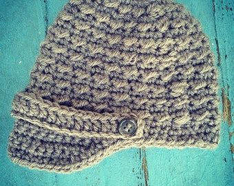 Nubby Newsboy --Crochet Newsboy hat with brim and band with buttons -- Taupe -- Boys, Babies, and Newborns -- Photography Prop