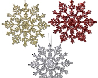 Snowflake Christmas Ornaments - 36 Pack  Asst Colors of Sparkly Snowflakes - 12 Red - 12 Gold - 12 Silver -  #3536