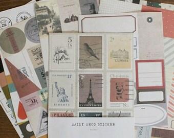 Retro Vintage Style Sticker Set (12 sheets)