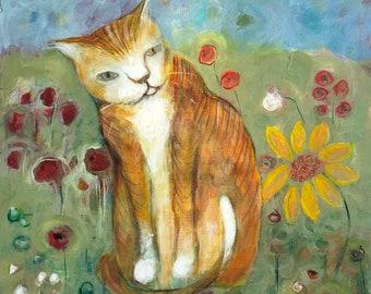 "Painting orange cat in garden acrylic original on wood 8 1/2"" x 9 1/2"""