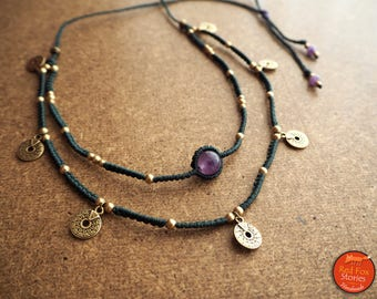Two layered Macrame Necklace with Amethyst stone brass beads and tribal brass components, macrame necklace, macrame choker, gypsy necklace
