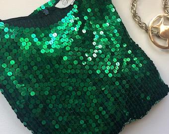 Vintage emerald green sequin top