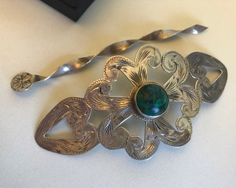 Vintage 1960s to early 70s taxco large sterling silver 'v.h.l.c.' engraved hair barrette and original pin - turquoise