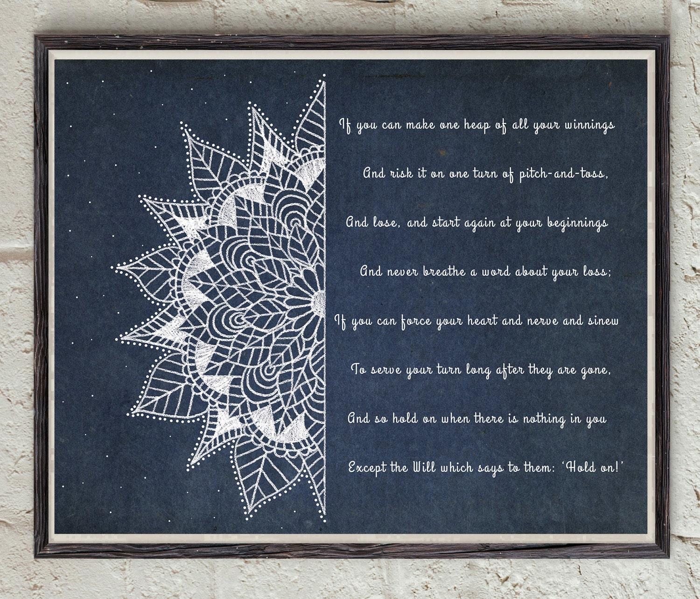 If Poem Rudyard Kipling Third Verse Mandala Art