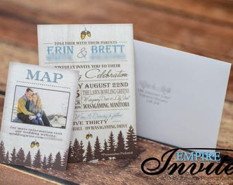 woodsy & rustic fir tree wedding invitations |  invites handmade in Canada by empireinvites.ca